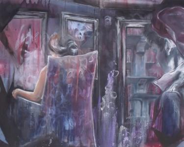 Salinger's Vault - Mixed media on canvas, 101 x 81cm